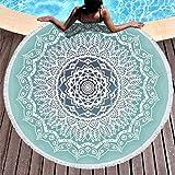 RQPPY - Arazzo da Parete Rotondo in Spugna con Pizzo Mandala Beach, Bianco, 150cm