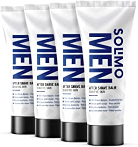 Marchio Amazon - Solimo - Men Balsamo Dopobarba - Pelli sensibili, 4 x 100 ml