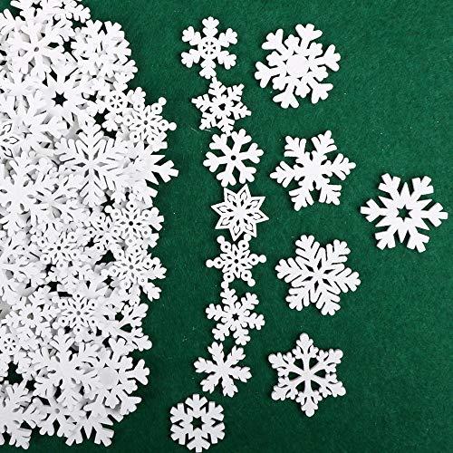 VINFUTUR 100 Stücke Weihnachtenanhänger Holz Schneeflocken 25mm 35mm Mini Streuteile Schneeflocken Tischdeko Weihnachten Winterdeko Holzdeko (Schneeflocken)