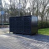 3 Mülltonnenboxen Modell No.5 für 240 Liter Mülltonnen / komplett Anthrazit RAL 7016 / witterungsbeständig durch Pulverbeschichtung / mit Klappdeckel und Fronttür
