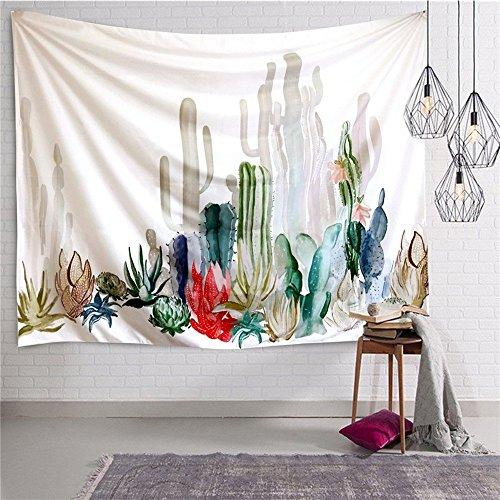 Higlles 2 Größen Kaktus Drucken Muster Wandteppich Wandbehang Hippie Pflanze Natur Dekoration Tapisserie Wandtuch Wandteppiche Home Decor