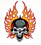 Big Skull Helm Spike Flaming Patch Weste/Jacke Biker Patch Motorrad Fahrer Biker Tattoo Jacke T-Shirt Patch Sew Iron on gesticktes Schild Badge