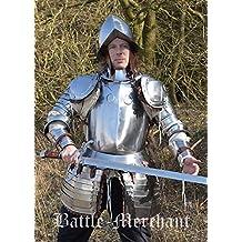 Battle Merchant Cadena de Infantería halbrüstung con morrión Casco de latón Armadura Tanque Placa Larp Vikingo Medieval