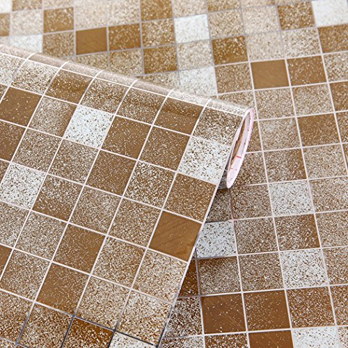 Waterproof Mosaic Pattern Contact Paper Self Adhesive Vinyl Shelf Liner Kitchen Backsplash Oil-proof sticker (17.7 by 78 Inches)