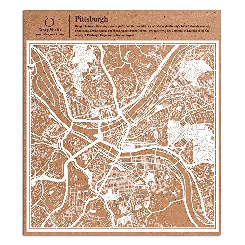 County Pittsburgh Pennsylvania (Pittsburgh Scherenschnitt Karte, Weiß 30x30 cm Papierkunst)