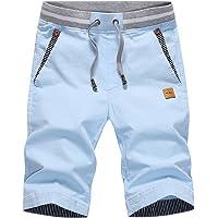 Tansozer Short Homme en Coton Casual Pantalon Slim Fit Taille éLastiquéE Short