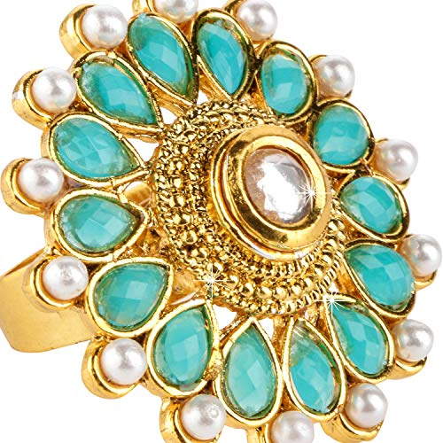 Yellow Chimes Latest Style Turquoise Pearl Studded Classic Gold Plated Cocktail Rings for Women & Girls