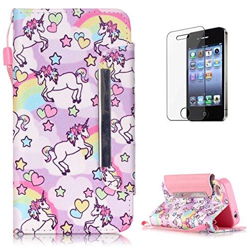 KaseHom Case for iPhone 4/4S PU Leder Brieftasche Hülle Mode EinzigartigBuntMuster Magnetischer Flip(mit Frei Displayschutzfolie)mit Kartenhalter Haut-Einhorn (Electronic Case 4 Iphone)