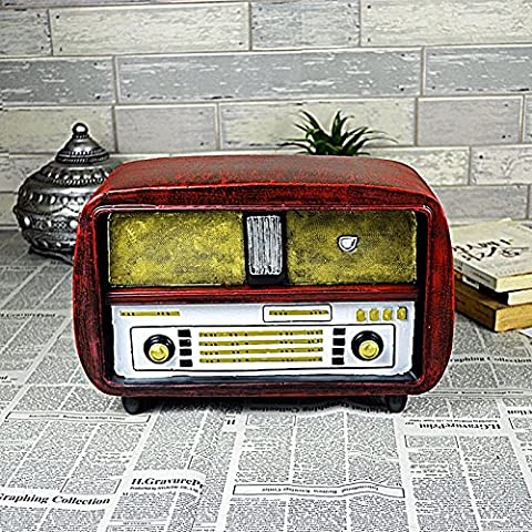 COLLECTOR-COLLECTOR-COLLECTOR-European ornaments retro radio model creative home wrought iron decoration photography props bar Internet Caf¨¦ decorations 15*38*25cm , red