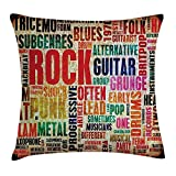 Music Throw Pillow Cushion Cover, Retro Rock And Roll Symbol Lettering Grunge Distressed Colors Back Then Sound Music Theme, Decorative Square Accent Pillow Case, 18 X18 Inches, Multi