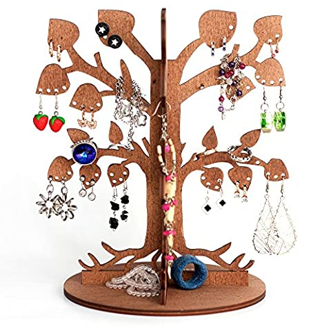Wooden Ecological Earring Tree Stand for Jewellery - Modern Design Display for Earrings - Ring Holder for Women and Girls