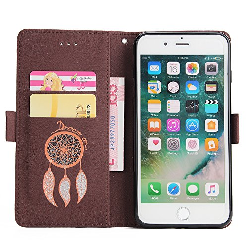 "iPhone 6s Plus Hülle,iPhone 6 Plus Case,MOONESS Schutzhülle PU Leder Flip Tasche Case mit Standfunktion und Karte Halter für iPhone6s Plus/iPhone6 Plus 5.5""(Rot) Braun"
