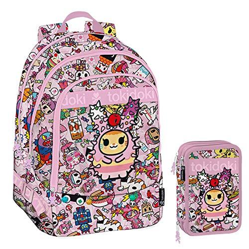 TOKIDOKI Schoolpack - Zaino Tre Cerniere + Astuccio 3 Zip Completo di Cancelleria - Collezione Scuola 2019-20
