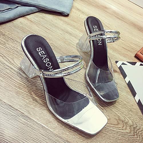 Uhrtimee Hausschuhe Weibliche Sommerkleidung 2019 Neue koreanische Version des Wilden Hafens Sandalen EIN Wort Ziehen Sie Dicke Mit High Heel Transparente Sandalen Und Hausschuhe, 38, Silber Heel Strappy Sandal