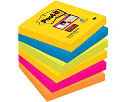 Post-it, Super Sticky Notes Pad, Coloured Notes Rio Collection, Memo Note Pad for Notes Taking and To Do List, 6 Pads of 90 S