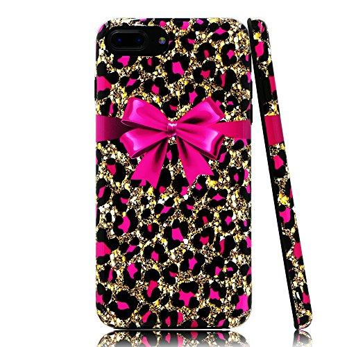 lartin weicher Flexibler Jellybean Gel TPU Fall für iPhone 8Plus/iPhone 7Plus/iPhone 6S Plus/iPhone 6Plus, Pink Cheetah Print and Bowknot (I Phone 6 Fällen Cheetah)