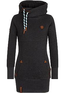 Naketano Damen Sweatshirt mit Kapuze Long Hoodie grey