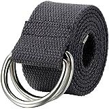 JewelryWe Schmuck Herren Damen Stoffgürtel, Einfarbig Casual D-Ring Yoga Leinwand Textilgürtel Stricken Canvas Web Gürtel Belt, 5 Farben