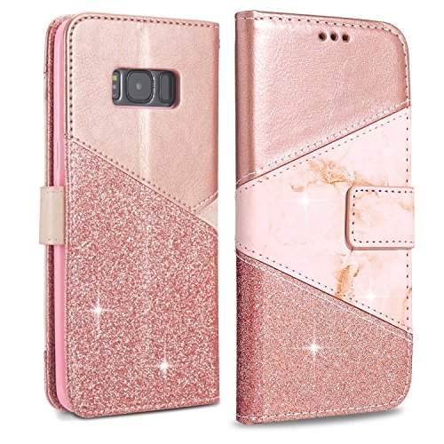 LCHULLE Rose Gold S8 Plus Wallet Case, Luxury Bling Glitter PU Leather Flip Case Marble Pattern Magnetic Closure Stand Function Folio Inner Soft TPU Cover Shell for Samsung S8 Plus Handbag Case