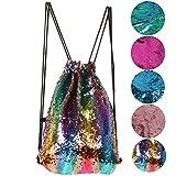 Uniuooi Mermaid wendbar Pailletten Rucksack Tasche mit Kordelzug Schließung, Glitzer Rucksack Sports Dance Tasche für Frauen Mädchen Teens, regenbogenfarben, 17.7
