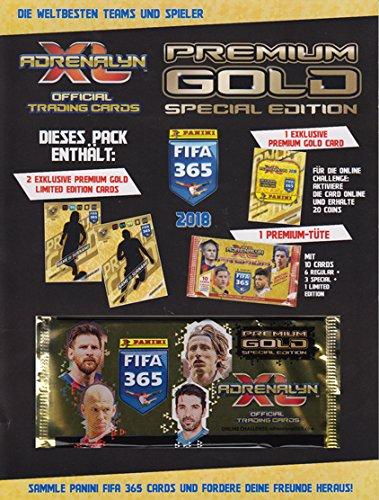Adrenalyn XL Fifa365apg 2018Premium Pack Jeu de cartes, Doré