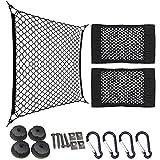 Fracht Netze Auto Rücksitz Kofferraum elastischer Fracht Aufbewahrung Organisieren + Auto LKW Rücksitz Elastischer Faden Netz Gewebe Aufbewahrung Tasche Doppellage Tasche