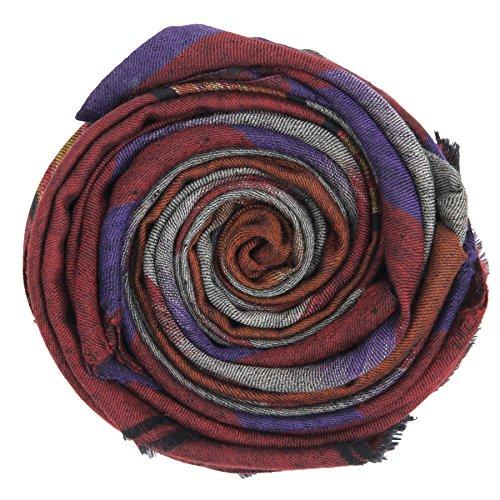 KASHFAB Cachemire Femmes Mode Hommes Ikat Weave Echarpe, Echarpe Cachemire, Soft Long Châle, Warm Pashmina fait main Bordeaux Violet