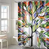 #9: Lushomes Polyester Digital Multi Tree Design Shower Curtain with 12 Eyelets and 12 Hooks (180x200cm)