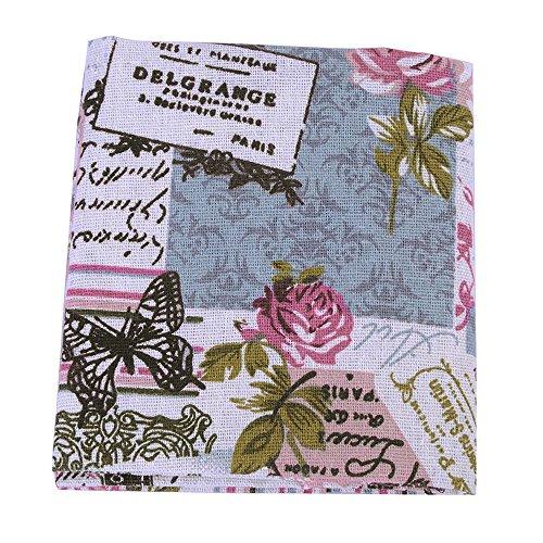 Souarts 1 Stück Stoffpakete DIY Schmetterling Rose Muster Deko Baumwolltuch Patchwork Stoffe Paket Stoffset 97x51cm