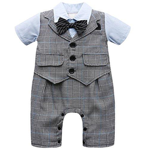 en Gentleman Strampler Hochzeit Kostüm mit Krawatte (Grau, 3-6 Monate) ()