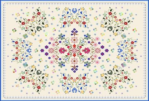 Printodecor 0009-657968250154 Alfombra Vinílica Impresa con Diseño Vintage, Plástico y PVC, Multicolor, 143 x 97 cm