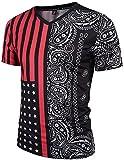 Pizoff Unisex Schmale Passform V-Ausschnitt T Shirts mit Bunt USA Sternenbanner Flug Bandana Paisley Digital Print Muster Y1781-06-M