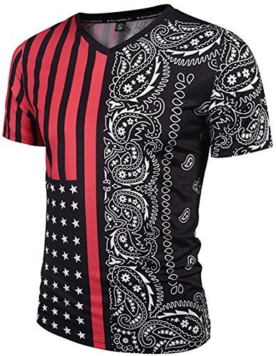 Pizoff Unisex Schmale Passform V-Ausschnitt T Shirts mit Bunt USA Sternenbanner flug bandana paisley Digital Print Muster Y1781-06-XL (Paisley Shirts Print)