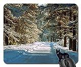 Yanteng Tapis de Souris de Jeu, Tapis de Souris, Neige Hiver Nature Arbre froidement...