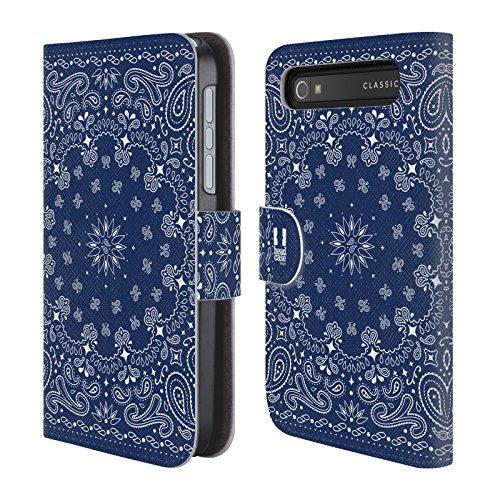 Head Case Designs Blau Klassische Paisleymuster Brieftasche Handyhülle aus Leder für BlackBerry Classic Q20 (Classic Video Ipod Tasche)