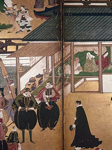 Menschen Häuser Japan Und In (Artland Wandbilder selbstklebend aus Vliesstoff oder Vinyl-Folie Unbekannter Künstler Portugiesische Händler in Japan, frühes 17.JH Menschen Berufe Illustration Braun)
