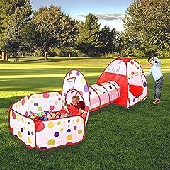 Idea Regalo - MAIKEHIGH Tunnel con Palline Bambini Indoor/Outdoor Gioco e Play Tent Cubby Tube Tenda Canadese 3 in 1 Parco Giochi per Capretti del Bambino Giocattoli Sfere Non Inclusa (3 in 1 Play Tent And Tunnel)