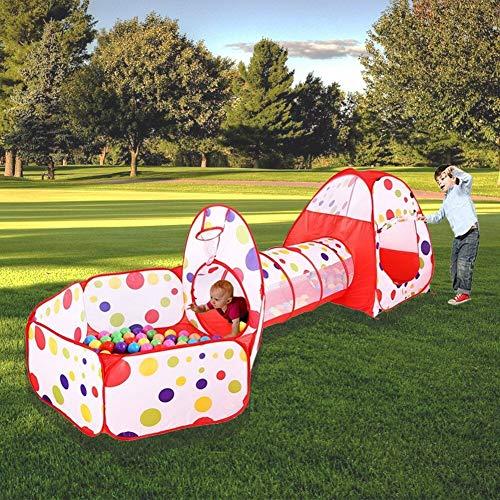 MAIKEHIGH Tunnel con Palline Bambini Indoor/Outdoor Gioco e Play Tent Cubby Tube Tenda Canadese 3 in 1 Parco Giochi per Capretti del Bambino Giocattoli Sfere Non Inclusa (3 in 1 Play Tent And Tunnel)