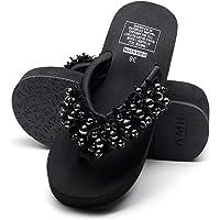 CUTUDE Femmes Couleur Unie Compensées Style Nouveau Tongs Pantoufles Chaussures De Plage Dames Casual Perle Sandales À…
