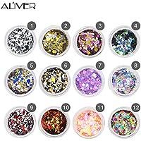 Aliver Nail Diamond Sequins 12 Colors UV Gel DIY Glitter Decoration Nail Art Sequins Powder