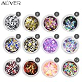 Aliver Nail Diamond Sequins 12 Colors UV Gel DIY Glitter Decoration Nail Art Sequins Powder