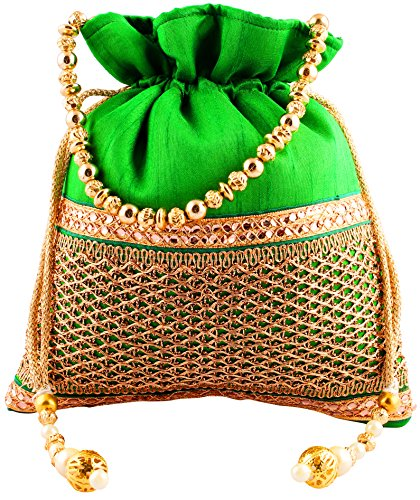 Bombay Haat Ethnic Rajasthani Potli Bag / Clutch / Bridal Clutch ( Green )  available at amazon for Rs.279
