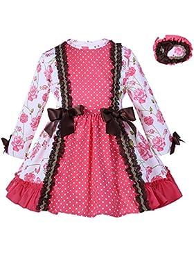 Lajinirr Niñas rosa impreso vintage princesa vestido con diadema