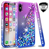 LeYi Hülle iPhone XS/iPhone X Glitzer Handyhülle mit Panzerglas Schutzfolie(2 Stück),Cover Diamond Bumper Schutzhülle für Case iPhone XS/iPhone X Handy Hüllen ZX Gradient Purple Blue