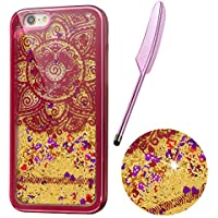 """iPhone 6/6S (4.7"""")Case, Red Plating Design, Edaroo 3d Cool Flowing Liquid Bling Sparkle Golden Glitter Style Beautiful Totem Mandala Pattern Slim Thin Fits Soft Rubber TPU Bumper Protective Case Cover for iPhone 6S/iPhone 6 (4.7 Inch) with 1pcs Stylus"""