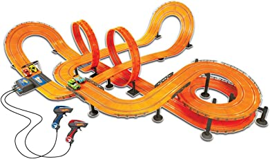 Hot Wheels Racer Track Set with 4 Slot Cars and Lap count 1:43 scale model- 1300 cm Parameter (with Adaptor)