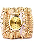 Joker & Witch Gold Chain Party Chic Analog Gold Dial Women's Watch (Amwww88)