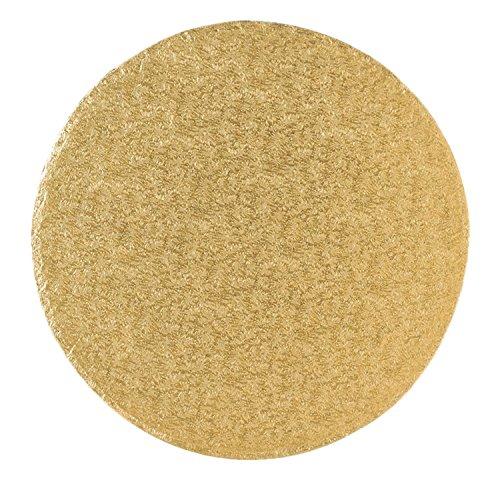 Tortenplatte/Cakeboard 40,6cm rund | aus fester Pappe | golden kaschiert | Motivtorten