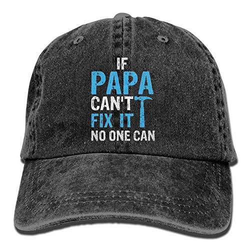 Men's Or Women's If Papa Can't Fix It No One Can Yarn-Dyed Denim Baseball Hat Adjustable Hip Hop Caps