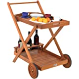 Deuba serving trolley with wheels FSC®-certified acacia wood Removable tray 3 bottle holders Kitchen trolley wood